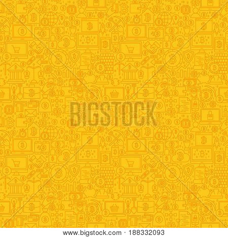 Yellow Line Bitcoin Seamless Pattern. Vector Illustration of Outline Tile Background. Cryptocurrency Financial Items.