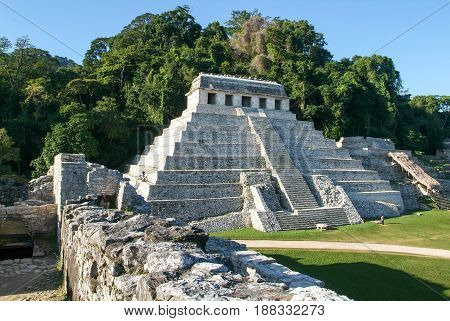 Temple Of Inscriptions In The Ancient Mayan City Of Palenque