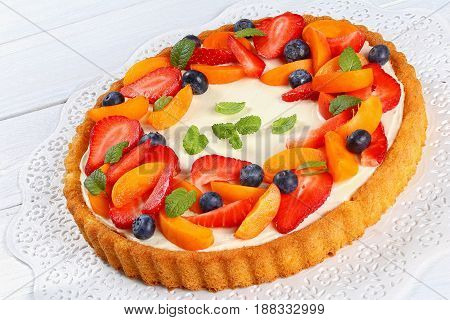 Homemade Cheesecake Topped With Fresh Fruits