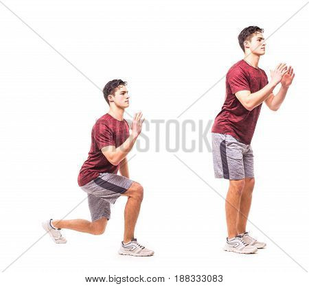Jump Lunge To Feet Jack. Young Man Doing Sport Exercise.