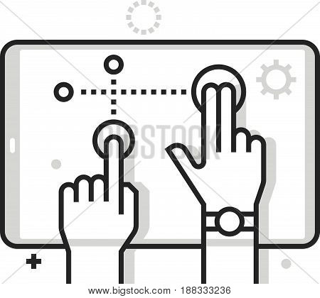 Color Box Icon, Multitouch Illustration, Icon