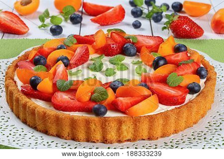 Tart Beautifully Topped With Fresh Fruits
