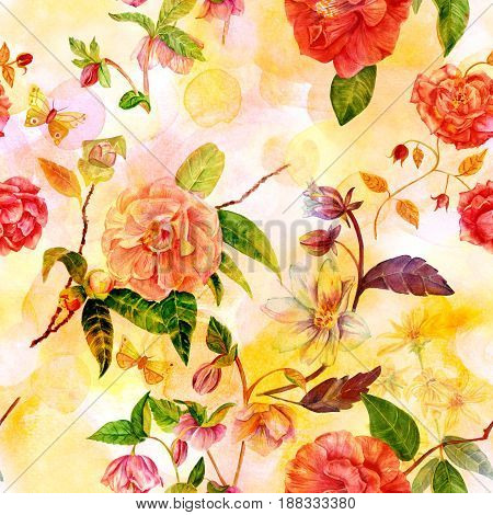 A vintage style seamless background pattern with hand drawn watercolor flowers, including roses, camellias, hellebores, dahlias and others, and butterflies on a golden and pink texture