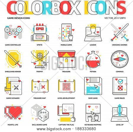 Color Box Icons, Game Development Backgrounds And Graphics