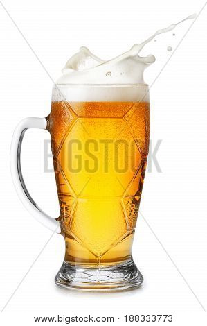 wheat beer in mug with splashing foam isolated on white background. Beer splash. Glass ball shape goblet with beer up. Pub alcohol drink