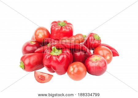 Diet Concept: Set From Red Bell Pepper, Red Hot Chili Pepper And Apple, Isolated