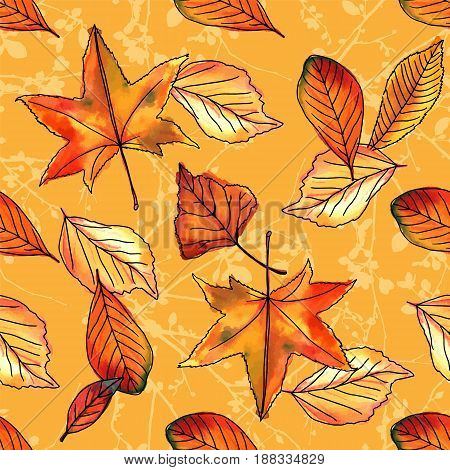 A seamless pattern of vector watercolor leaves and ink branches on a yellow background. Autumnal wallpaper design
