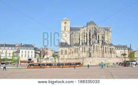 LE MANS FRANCE - APRIL 03 2017: Roman cathedral of Saint Julien at Le mans Sarthe Pays de la Loire