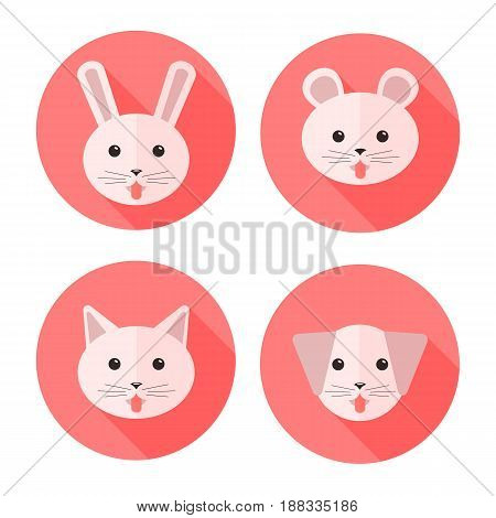 Vector flat animals on circles showing their tongues: dog cat rabbit and hamster. Icon set.
