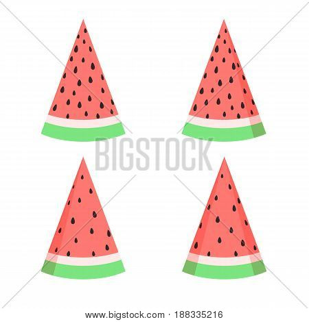 Vector watermelon slices set in flat style isolated on the white background