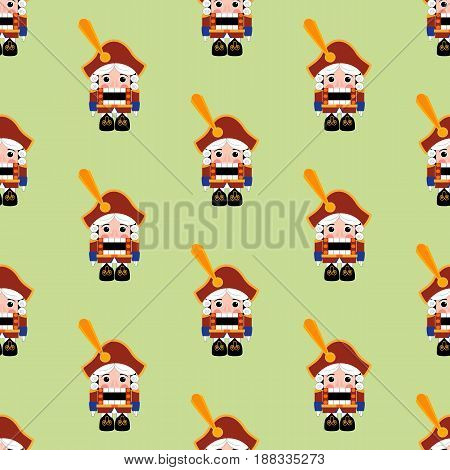 Nutcracker pattern on the green background. Vector illustration