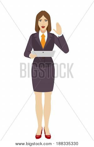 Businesswoman holding a digital tablet PC and greeting someone with his hand raised up. Full length portrait of businesswoman character in a flat style. Vector illustration.