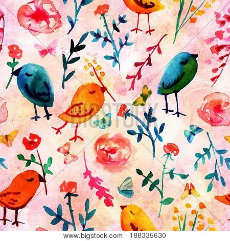 A seamless background pattern with quirky watercolor birds, butterflies, and abstract florals, hand painted on a pink background
