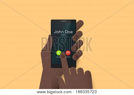 Hand Holding Smartphone With One Finger Over Touchscreen. Material Design Vector Illustration With Incomming Call On The Screen.