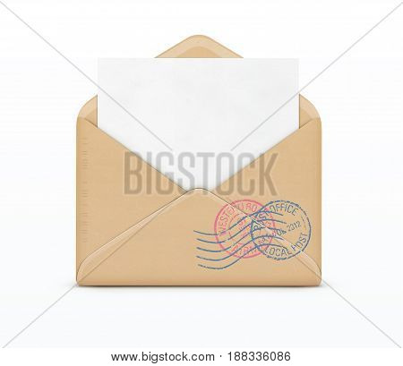 Vector illustration of open envelope and white paper with post stamps isolated on white background