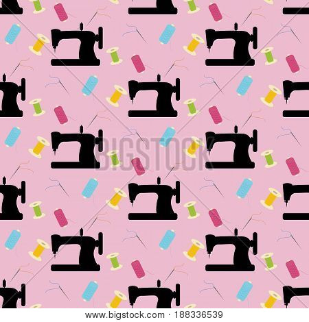 Sewing pattern on the pink background. Vector illustration