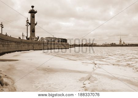 View on Vasilyevsky island and the Paul and Peter fortress in the winter Saint Petersburg Russia