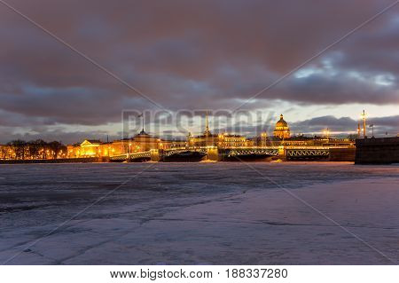 Panoramic view of the historical center of Saint Petersburg on sunset Russia
