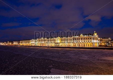 The Winter Palace in Saint Petersburg Russia was the official residence of the Russian monarchs. Today the restored palace forms part of a complex of buildings housing the Hermitage Museum