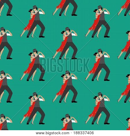 Tango pattern on the green background. Vector illustration