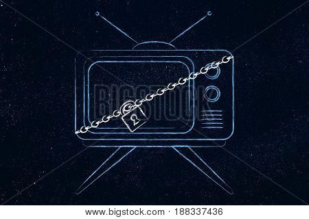 Television With Lock And Chain
