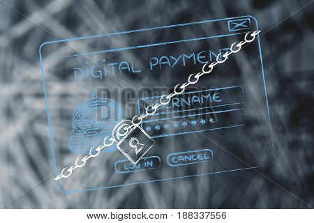 Digital Payment Login Pop-up With Lock And Chain