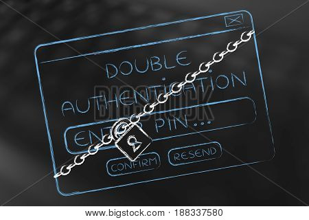Double Authentication Login Pop-up With Lock And Chain