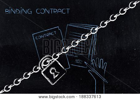 Binding Contract With Lock And Chain
