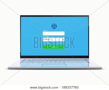 Vector illustration of computer security concept with locked modern laptop