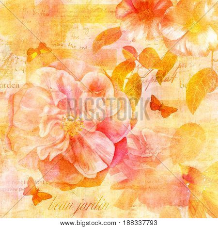 Vintage collage with rose and camellia flowers, butterflies, golden bird, on background with fragments of letters and old paper textures. Visible text is 'beautiful garden' in French. Golden toned