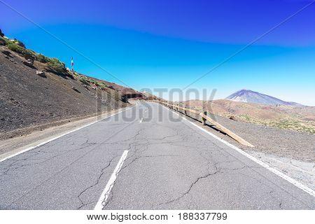 empty mountain road in national park of Teide, Tenerife island, Spain