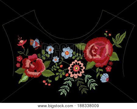 Embroidery native neckline pattern with roses and fantasy flowers. Vector embroidered traditional floral design for fashion wearing.