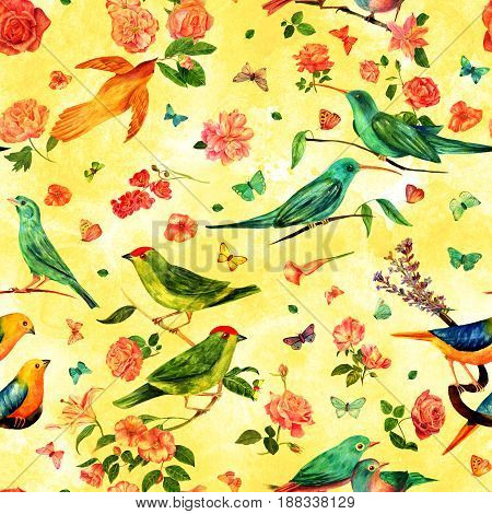 Seamless pattern with vintage watercolor drawings of birds, flowers, including roses, camellias, lilies, and others, and butterflies, hand painted on golden yellow background. Nature repeat print