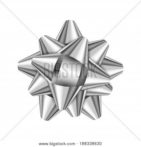 Silver holiday bow on white background. Vector illustration for your design