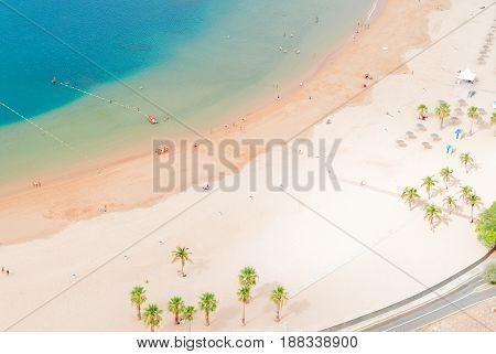 aerial birdeye view of Las Teresitas beach, Tenerife island, Canarias