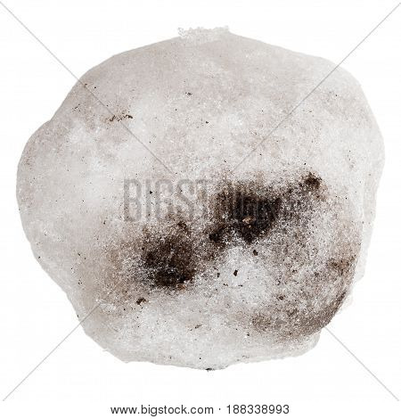 Dirty snowball or hailstone isolated on a white background