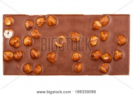 Milk chocolate bar with nuts isolated on white background
