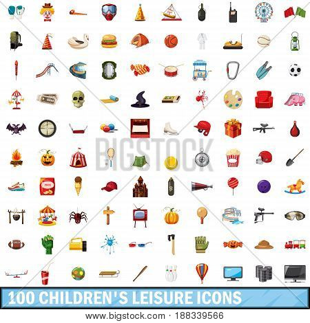 100 children leisure icons set in cartoon style for any design vector illustration