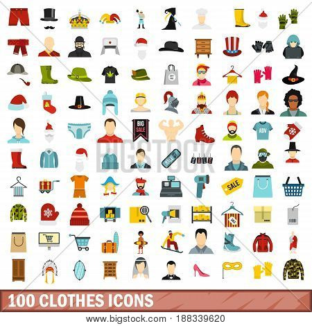 100 clothes icons set in flat style for any design vector illustration