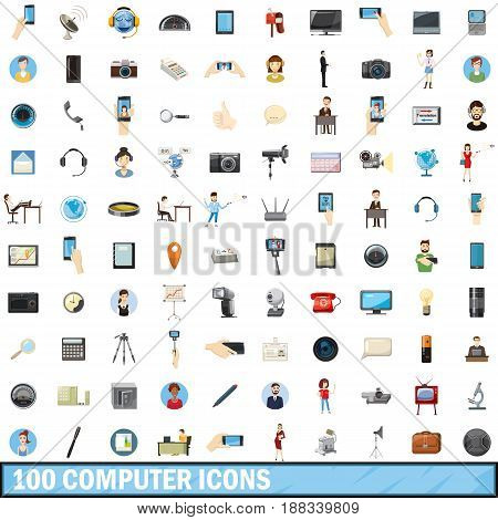 100 computer icons set in cartoon style for any design vector illustration