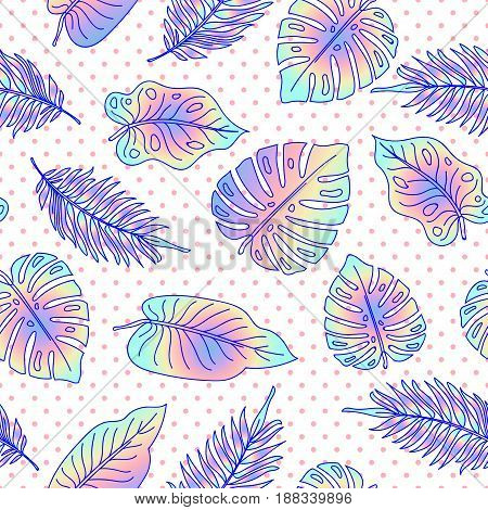 Palm tree leaves seamless pattern with dots. Modern abstract background,