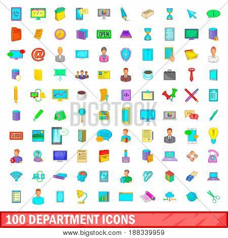 100 department icons set in cartoon style for any design vector illustration