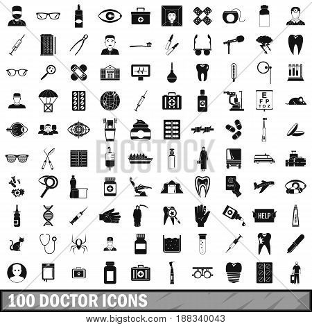 100 doctor icons set in simple style for any design vector illustration