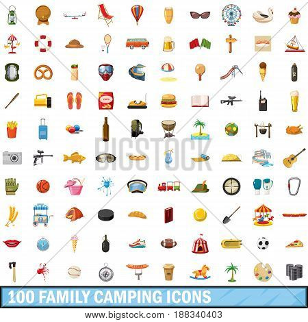 100 family camping icons set in cartoon style for any design vector illustration