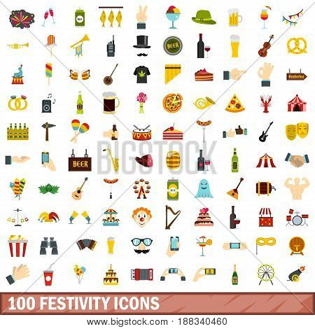 100 festivity icons set in flat style for any design vector illustration