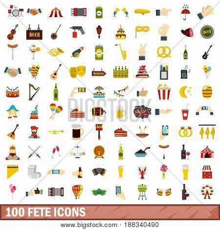 100 fete icons set in flat style for any design vector illustration