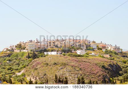 Village Crete on a rocky massif in the center of the island