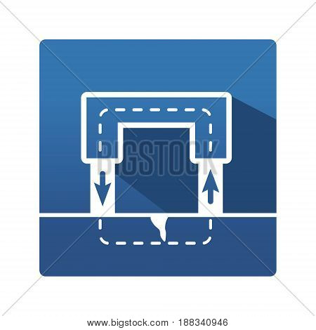 Magnet pictogram. Industrial icon in trendy flat style on blue background. Magnet control pictogram for your web site design, logo, app. Vector illustration, EPS10