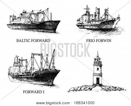 Set cargo ships and lighthouse. Vector illustration. Traced image. Original drawings by hand, you can also find in my portfolio BITMAP folder.