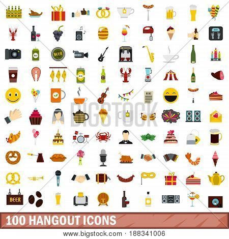 100 hangout icons set in flat style for any design vector illustration
